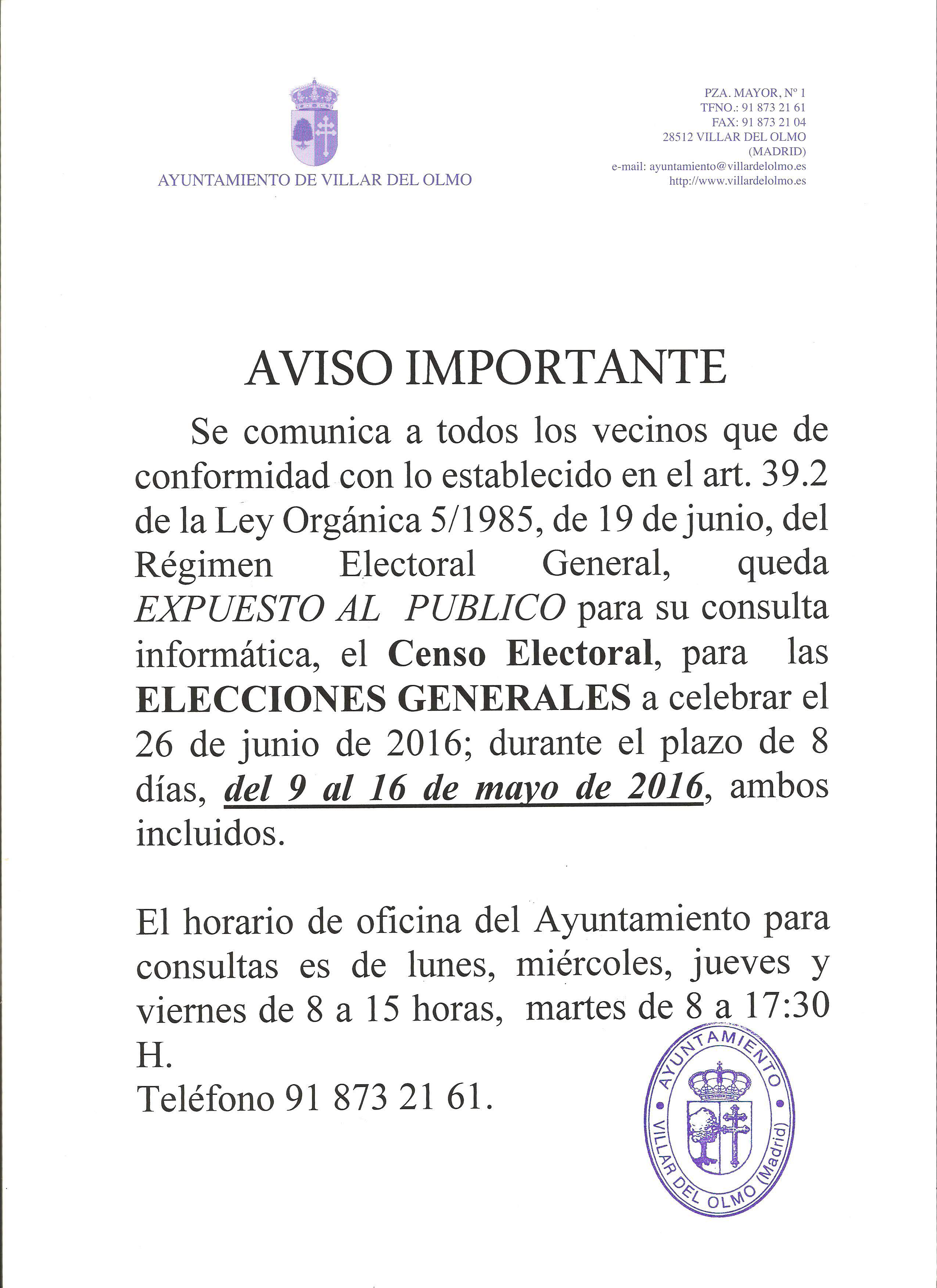 Consulta censo electoral for Oficina del censo electoral